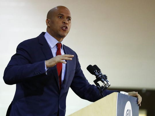U.S. Sen. Cory Booker delivers remarks at the Kaplen Jewish Community Center on the Palisades during a rally against recent bomb threats made to jewish centers, Friday, March 3, 2017, in Tenafly, N.J. (AP Photo/Julio Cortez)