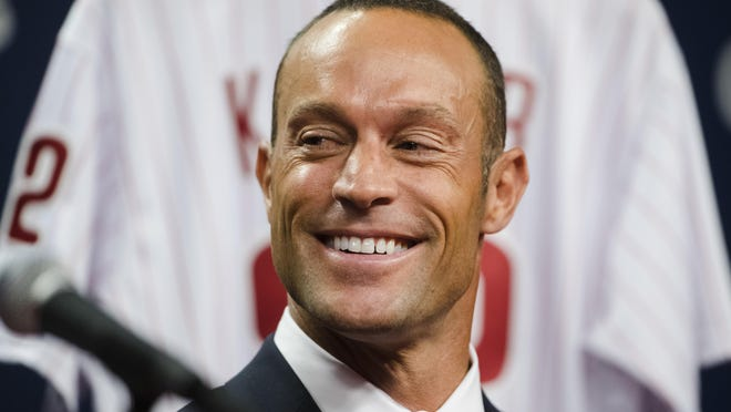 Phillies new manager Gabe Kapler is seen during a news conference Thursday in Philadelphia.