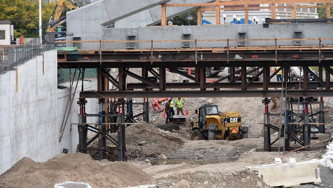 Images of the Virginia Street Bridge under construction on Oct. 16, 2015.