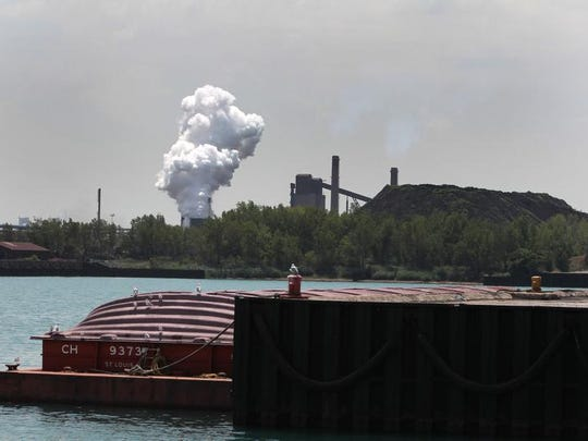 Steel is made at AreclorMittal steel mill at Burns Harbor, seen from the Port of Indiana. 2012 photo. Kelly Wilkinson / The Star