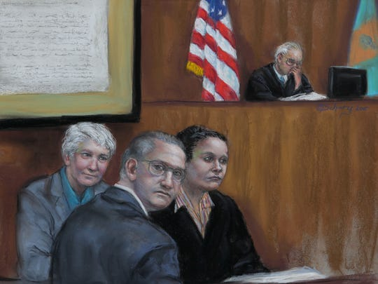 A courtroom sketch shows the Matusiewicz family during their trial in U.S. District Court in Delaware.