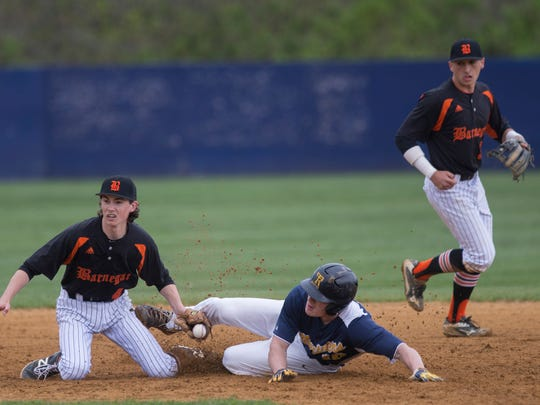 Toms River North's Pat Marinaccio manages to steal second in the fourth inning when the throw arrives late to Barnegat's Justin Diefenbach, but didn't score as he was caught taking too long a lead. Barnegat Baseball vs Toms River North in Toms River, NJ on April 7, 2016