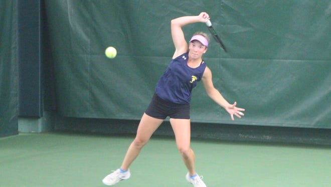 Autumn Bruno of Whitnall chases down a ground stroke during a match Oct. 13 at the WIAA Division 1 state tennis meet.
