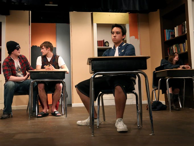"From left, Colton Viehmann, 20, Dustin Marsh, 20, Aydin Chester, 15, and Maddie Lentz, 19, rehearse a scene from ""The Breakfast Club"" at The Little Colonel Playhouse. July 23, 2014."