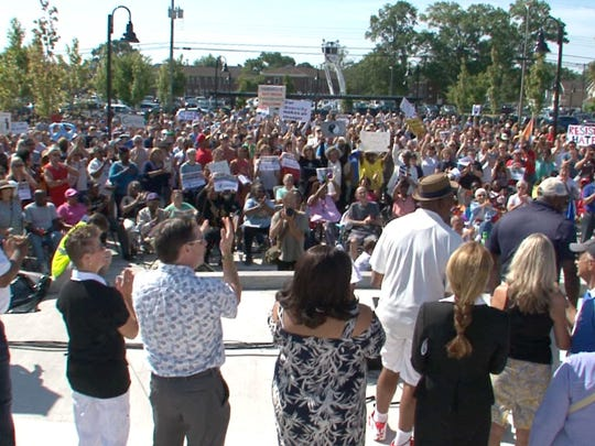 People fill Springwood Park in Asbury Park Monday,