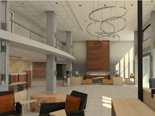 A rendering of the lobby of the Delta Hotels by Marriott