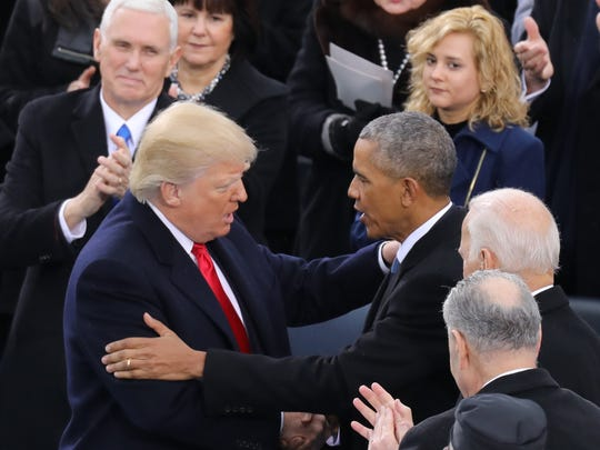 President Donald Trump and President Barack Obama at the conclusion of the inauguration ceremony.