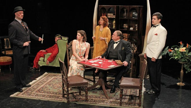 "Starring in Cortland Repertory Theatre's production of Agatha Christie's ""Cards on the Table"" are, from left, Arthur Lazalde as Superintendent Battle, Mark Re as Shaitana, Caroline Kane as Anne Meredith, Wendy Bagger as Mrs. Oliver, Richard Daniel as Doctor Roberts and Daniel Wisniewski as Major Despard."