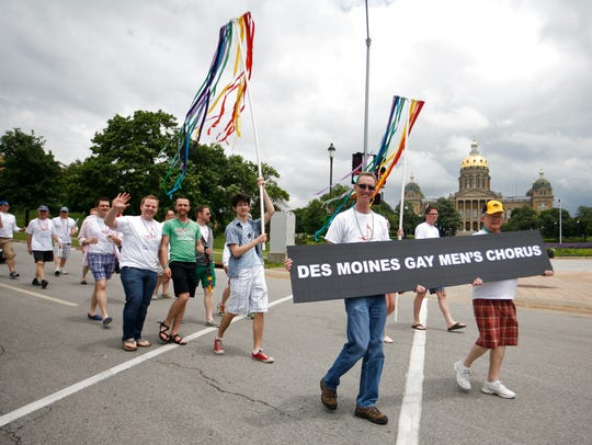 The Des Moines Gay Men's Chorus, in the 2013 Capital City Pride Parade.