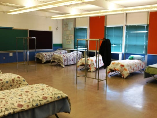 The shelter provides a place where men can warm up