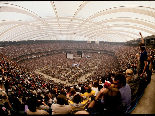 The announced attendance at the Silverdome for WrestleMania III 93,173, at the time considered the largest crowd ever for an indoor sporting event.