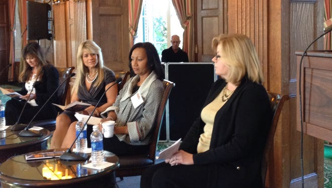 Left to right: Deborah Brenner of Women of the Vine; Judith Huntington, president of College of New Rochelle; Thelma B. Ferguson of JP Morgan Chase; and Janet Hasson, publisher of The Journal News at the Driving Your Business: Women at the wheel event on Sept. 18, 2014.
