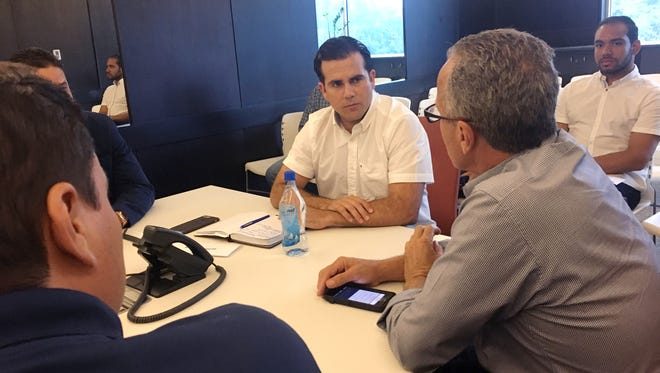 Puerto Rican Gov. Ricardo Rosselló at a hurricane preparedness meeting in advance of Hurricane Maria.