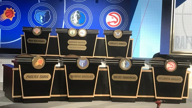 The NBA team podiums await the Tuesday night draft lottery announcement on May 15, 2018.