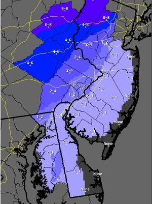 Snowfall forecast map through 7 p.m. on Thanksgiving