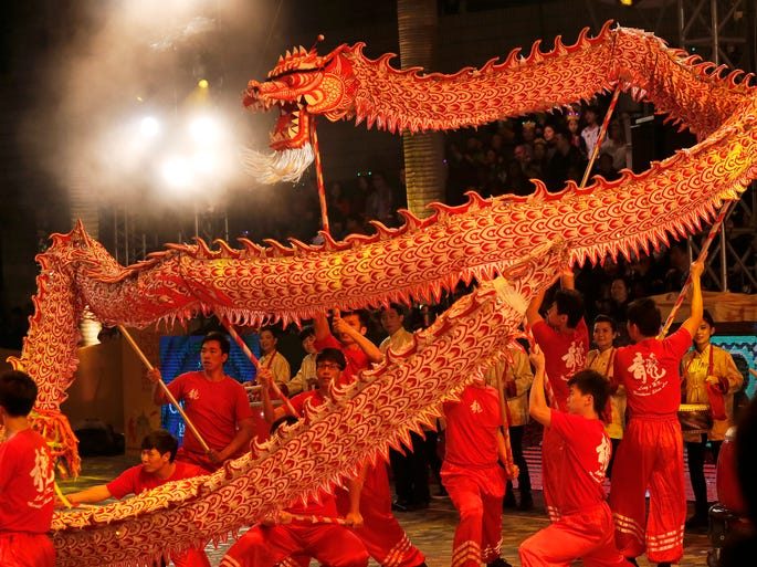 Performers do the dragon dance during a night parade to celebrate Chinese New Year in Hong Kong on Jan. 31.