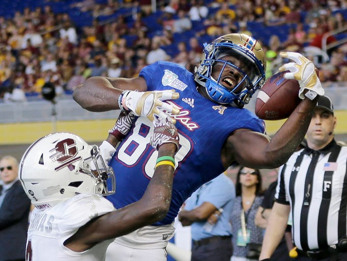 Tulsa wide receiver Josh Atkinson (88) is unable to
