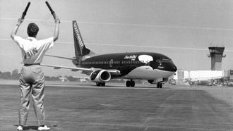 Southwest Airlines' Shamu One taxis into Detroit City Airport in May 1988..