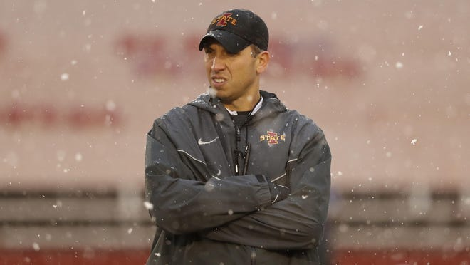 Iowa State head coach Matt Campbell stands on the field before an NCAA college football game against Drake, Saturday, Dec. 1, 2018, in Ames.