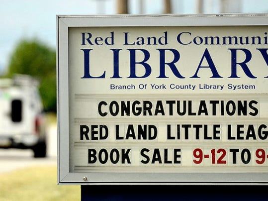 The Red Land Community Library displays a sign supporting the Red Land Little League team in Goldsboro. The Red Land Little League team will play in the Little League World Series. Dawn J. Sagert - dsagert@yorkdispatch.com