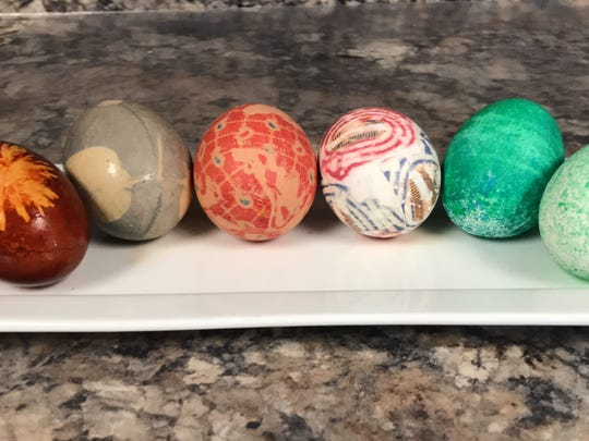 Eggs dyed using non-traditional methods. From left: