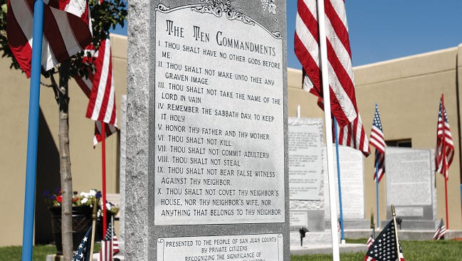 The Ten Commandments monument is seen  in August 2014 at Bloomfield City Hall.