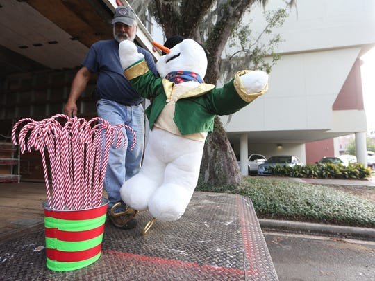 Bob McCormick unloads an ice-skating Frosty the Snowman