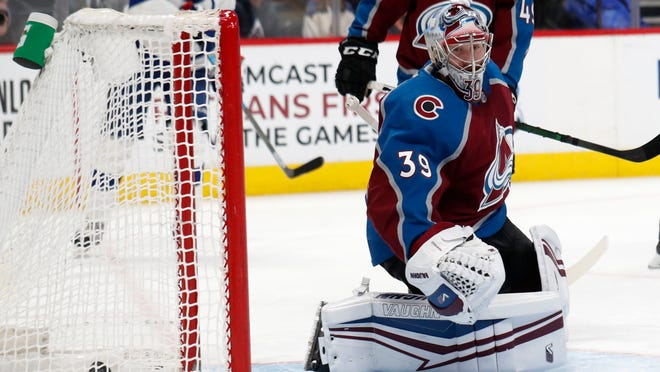 Colorado Avalanche goaltender Pavel Francouz reacts after the puck slips by for a goal for Tampa Bay Lightning left wing Alex Killorn in the second period of an NHL hockey game Monday, Feb. 17, 2020, in Denver. (AP Photo/David Zalubowski)