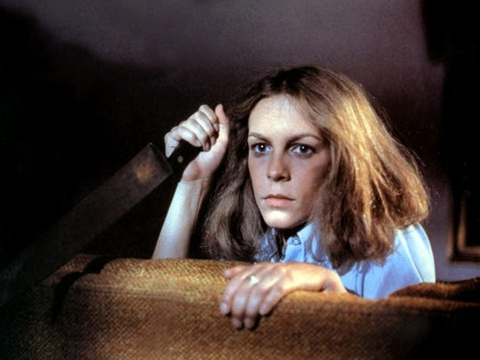 "Jamie Lee Curtis takes on the bad guy, Michael Myers, in ""Halloween."""