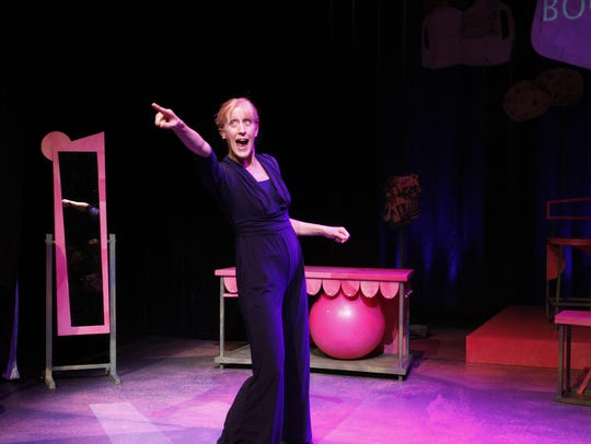 """Sally Jo Bannow in her one-woman """"The Boob Show"""" at"""