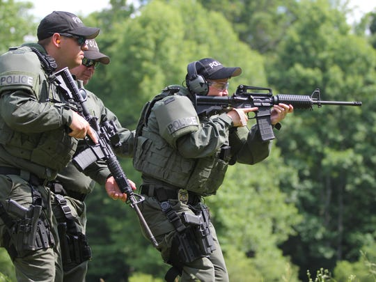 Members of Black Mountain's Special Response Team perform drills on on the department's shooting range on June 7.