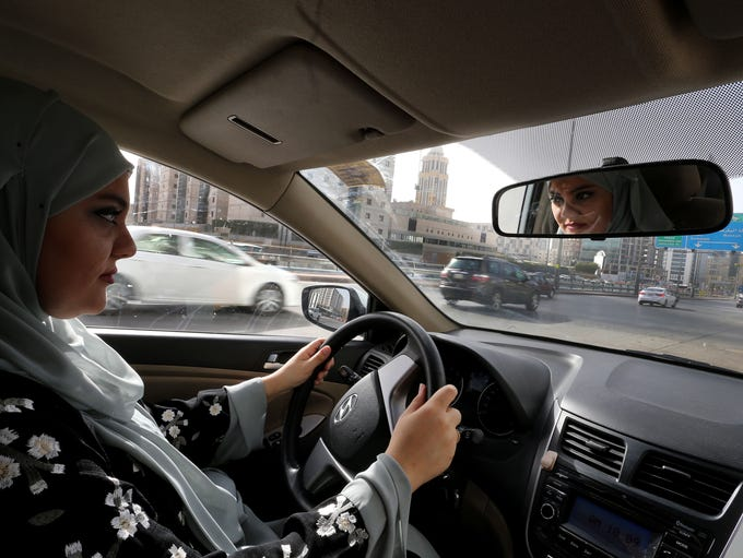Dina Yousef, 30, drives for the first time through