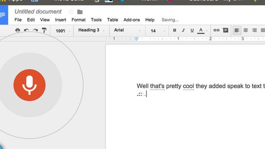 Voice recognition in Google Docs