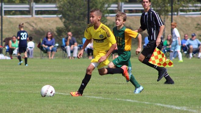 Fremont's Ayden Carter, 11, plays for the U-12 Columbus Crew Soccer Club Academy team.