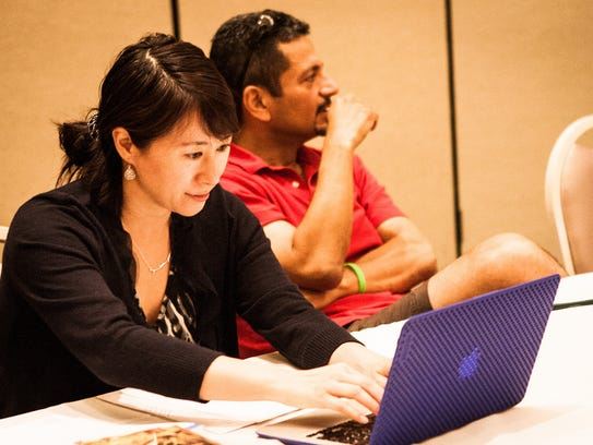 Students during workshop at residency, which is held