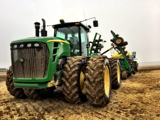 Seeding spring wheat in early May