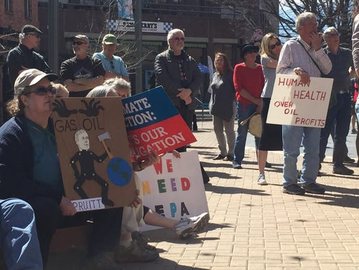 """""""Save the EPA"""" rally in Old Town Square Fort Collins"""