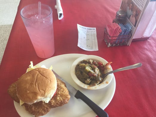The country fried steak sandwich combo at Ruby's Kitchen