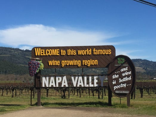 One of the famed Napa Valley signs greets visitors