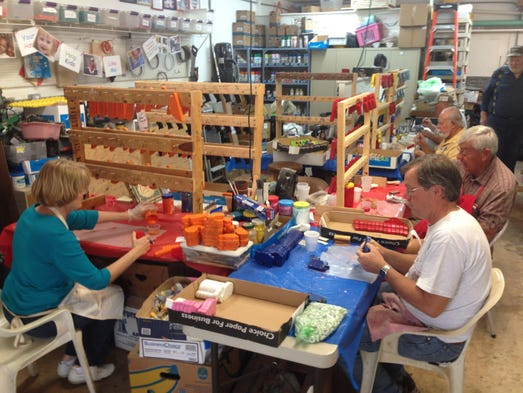 Toys For Retirees : Toymakers make wooden toys for kids in tampa bay