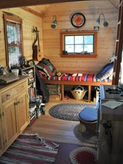 The interior of a tiny, mobile house in Portland, Oregon