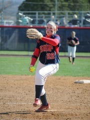 Emily Estep is shown during her playing days at Shippensburg University. Estep was an ace pitcher for Chambersburg Area Senior High School and Ship U, and she now is the pitching coach for the Lady Trojans.