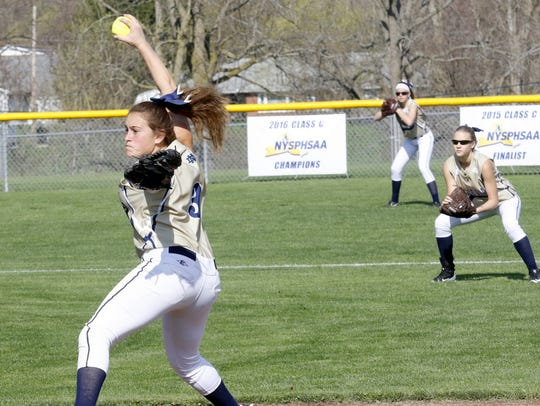 Elmira Notre Dame's Izzy Milazzo delivers a pitch Friday