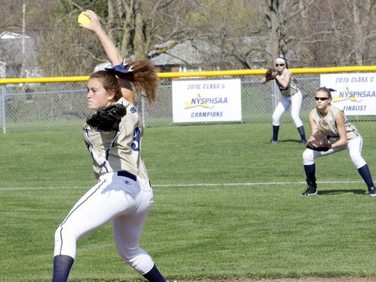 Elmira Notre Dame's Izzy Milazzo delivers a pitch Friday during the Crusaders' 11-2 victory over Tioga in Southport.