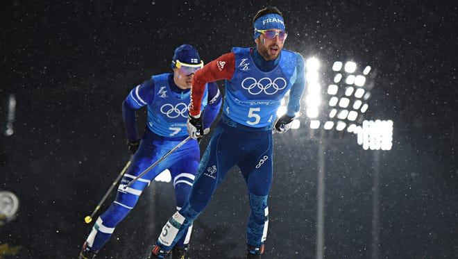 Jason Lamy Chappuis of France competes during the Nordic Combined Team event at Alpensia Cross-Country Centre on February 22, 2018 in Pyeongchang-gun, South Korea, during the Winter Olympics.