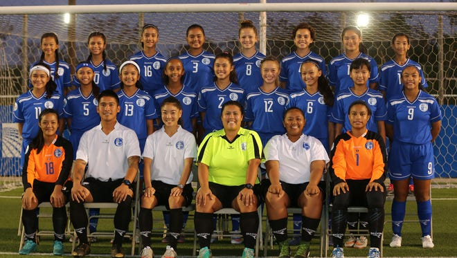 "The Mini Masakåda, Guam's U14 girls' national team. Front, from left: Christen De Castro, Asst. Coach Ross Awa, Assistant Coach Kimberly Sherman, head coach Ashley Besagar, team manager Chyna Ramirez and Kiarra Hutcherson. Middle row, from left: Lauren Phillips, Abigail San Gil, Maria ""Mia"" Taitano, Lily Franklin, Hallie Wigsten, Rylee Guzman, Minami Rabago, Jadyn Palomares and Jinae Teria. Back row, from left: Yasmeen Lopez, Vanessa Cruz, Gabrielle Depriest, Kahllyah Gail Sanchez, Samantha Fegurgur, Samantha Kenney, Chansey Rios and Olivia Leon Guerrero. Not shown is trainer/EMT Robinson Di Ramos."