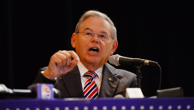 U.S. Senator Robert Menendez speaks during the City of Paterson Inaugural Ceremony 2018 at the International High School in Paterson on 07/01/18.