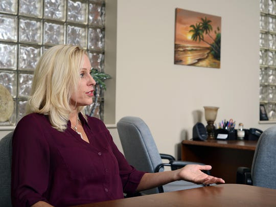 Trisha Farrar, chief executive officer of The Recovery Center, talks about her career working at the addiction recovery center in this Eagle-Gazette file photo. The Recovery Center will provide counseling services to domestic violence victims of The Lighthouse, a local domestic violence shelter.
