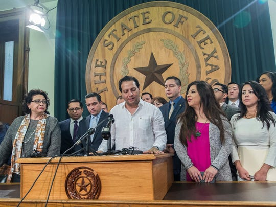 "Texas House Rep. Poncho Nevarez of district 74 speaks about the altercation that he was involved on the house floor during the last day of session at the state Capitol in Austin Monday. A raucous end to a divisive Texas legislative session erupted Monday when a large protest over a ""sanctuary cities"" crackdown provoked a heated scuffle between lawmakers on the House floor."