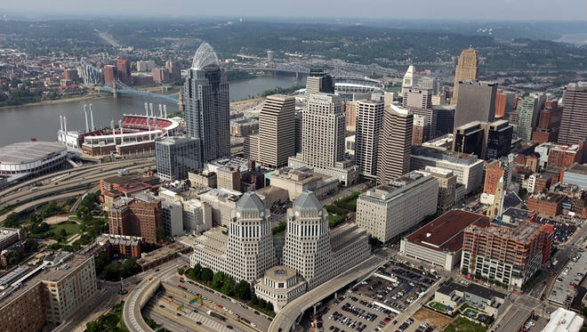 An aerial view of downtown Cincinnati (foreground) and Northern Kentucky